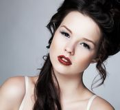 Tenderness. Affectionate Young Brunette with Fresh Clean Skin. Complexion Stock Images