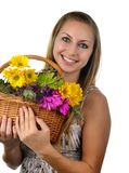 Woman and Fresh Flower Stock Photo