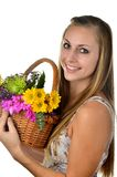 Woman and Fresh Flower Stock Photos