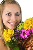 Woman and Fresh Flower Royalty Free Stock Photo