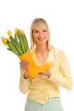 Woman with fresh flowers Royalty Free Stock Photography