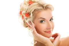 Woman with fresh flowers Stock Photo