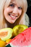 Woman and fresh fruit Royalty Free Stock Photo