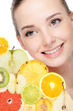 Woman and fresh fruits Royalty Free Stock Photo
