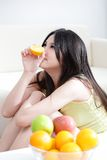 Woman with fresh fruits orange Royalty Free Stock Images