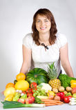 Woman with fresh produce Royalty Free Stock Photography