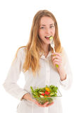 Woman with fresh salad for diet Stock Images