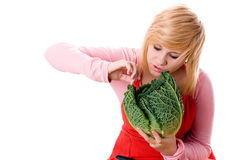 Woman with fresh savoy cabbage Royalty Free Stock Image