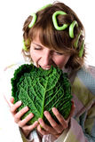 Woman with fresh savoy cabbage Royalty Free Stock Photos