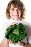 Woman with fresh savoy cabbage Stock Photo