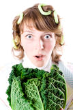 Woman and fresh savoy cabbage Royalty Free Stock Photos