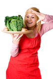Woman with fresh savoy cabbage and onions Stock Photography