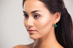 Woman with fresh skin looking away Stock Photos