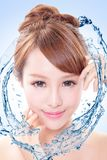 Woman with fresh skin in splashes of water Royalty Free Stock Images