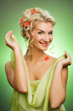 Woman with fresh spring flowers Royalty Free Stock Photo