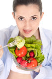 Woman fresh vegetable salad Stock Photo