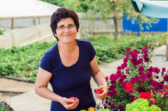 Woman with fresh vegetables and flowers Stock Image