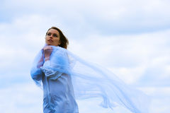 Woman and fresh wind Royalty Free Stock Photography