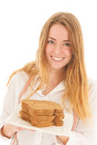 Woman with freshbrown bread for diet Royalty Free Stock Photos
