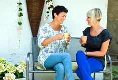 Woman friends chatting. Two women friends chatting outdors over coffee Royalty Free Stock Image