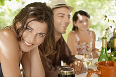 Woman With Friends Enjoying Drinks Stock Photos