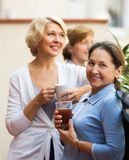 Woman friends on summer terrace Royalty Free Stock Image