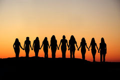 Woman friendship silhouette. Royalty Free Stock Photos