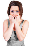 Woman is frightened Stock Images