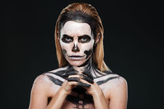 Woman with frightening skeleton makeup Royalty Free Stock Images