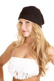 Woman fringe tube top black beanie Royalty Free Stock Photography