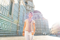 Woman in front of cattedrale in florence, italy Royalty Free Stock Photo
