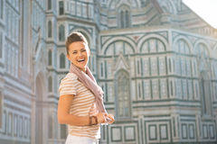 Woman in front of cattedrale in florence, italy Stock Photo
