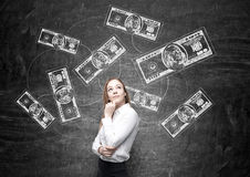 Woman in front of dollar notes sketch Stock Photos