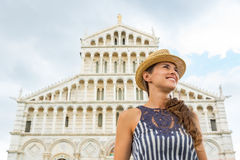 Woman in front of duomo di pisa, pisa, tuscany Stock Image