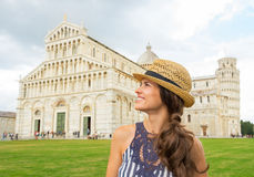Woman in front of duomo di pisa, pisa, tuscany Royalty Free Stock Image