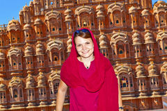 Woman in front of the Hawa Mahal in Jaipur Stock Photos