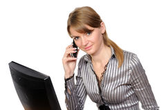 Woman in front of her computer Royalty Free Stock Photography