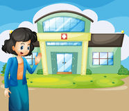 A woman in front of the hospital. Illustration of a woman in front of the hospital Royalty Free Stock Photos