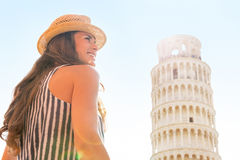 Woman in front of leaning tower of pisa, tuscany Stock Photo