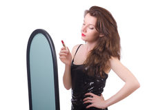 The woman in front of mirror Stock Photo