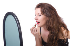 The woman in front of mirror Royalty Free Stock Photo