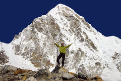 Woman in front of Mount Everest Royalty Free Stock Photography