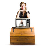 Woman  in front of TV camera Stock Photography