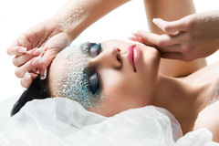 Woman with frost on face Royalty Free Stock Image