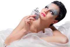 Woman with frost on face Royalty Free Stock Images