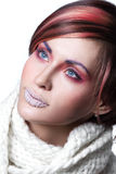 Woman  with frost on lips Stock Image