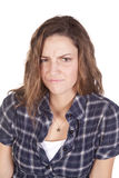 Woman frown blue shirt Stock Photos