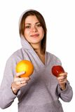 Woman with fruit. Isolated on white Stock Photo