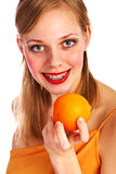 Woman with fruit Stock Image