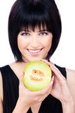 Woman with fruit Royalty Free Stock Image